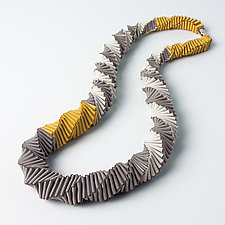 Mondrian Yellow Necklace by Sophia Hu (Polyester & Stainless Steel Necklace)