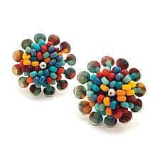 Roma Stud Earrings by Claudia Fajardo (Silver & Bead Earrings)