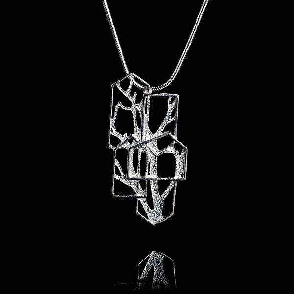 Sterling Silver Houses and Branches Pendant