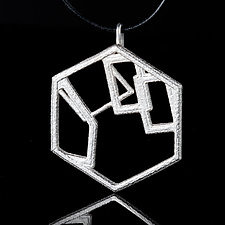 Sterling Silver Hexagon Pendant Necklace by Diana Eldreth (Silver Necklace)