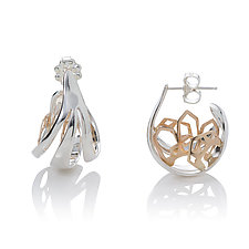 Sterling Hoops with Gold Houses by Diana Eldreth (Gold & Silver Earrings)