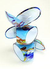 Remnant Sculpture in Sky Blue by Justin Hunting (Art Glass Sculpture)