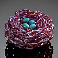 Woven Glass Bird's Nest in Amber Orchid by Demetra Theofanous (Art Glass Sculpture)