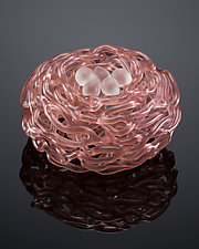 Birds Nest in Rose Gold by Demetra Theofanous (Art Glass Sculpture)