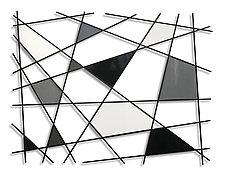 Triangulation B/W by Karo Martirosyan (Art Glass Wall Sculpture)
