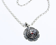 In Bloom Necklace with Garnet by Susie Aoki (Silver & Stone Necklace)
