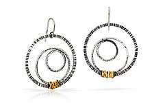 Embedded Circles Earrings by Susie Aoki (Gold & Silver Earrings)