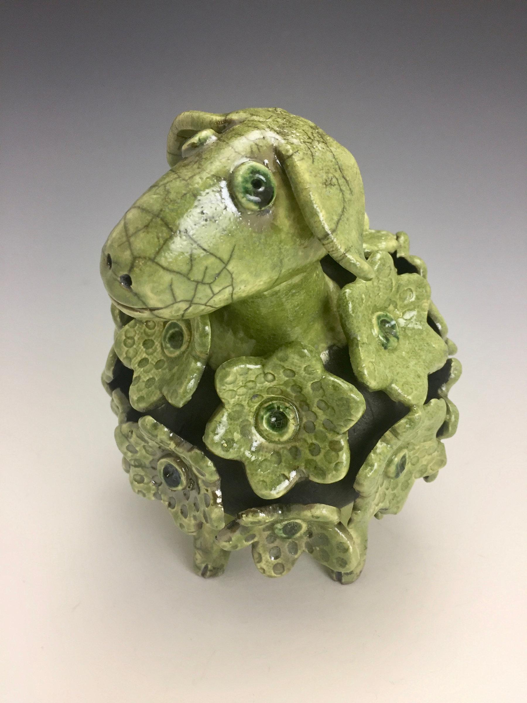 Balthazar Green Sheep Raku Sculpture By Lilia Venier
