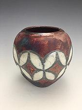Copper Diamonds Raku Vase by Lilia Venier (Ceramic Vase)