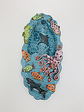 Deep Ocean Party - Hanging Flower Vase by Lilia Venier (Ceramic Wall Sculpture)
