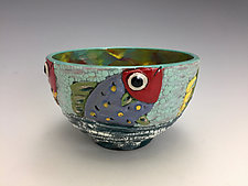 Red Fish Bowl by Lilia Venier (Ceramic Bowl)