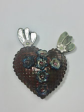 Raku Heart with Wings by Lilia Venier (Ceramic Wall Sculpture)