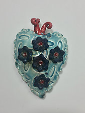 Blue Love Raku Heart by Lilia Venier (Ceramic Wall Sculpture)