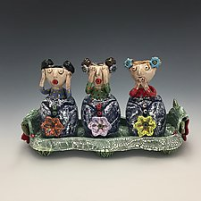 Hear, See, and Speak No Evil Tray by Lilia Venier (Ceramic Platter)
