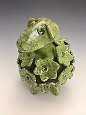 Balthazar - Green Sheep, Raku Sculpture by Lilia Venier (Ceramic Sculpture)