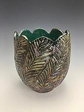 Ferns Raku Vase by Lilia Venier (Ceramic Vase)