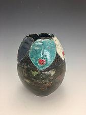 Ladies of the Night Raku Vase by Lilia Venier (Ceramic Vase)