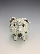 White Pig Raku Sculpture by Lilia Venier (Ceramic Sculpture)