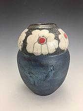 Daises Raku Flower Vase by Lilia Venier (Ceramic Vase)