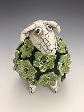 Dolly - Green Sheep with White Head Raku Sculpture by Lilia Venier (Ceramic Sculpture)