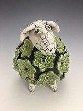 Dolly - Green Sheep with White Head Raku Sculpture by Lilia Venier (Ceramic Sculpture)