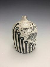 White Raku Bottle by Lilia Venier (Ceramic Vase)