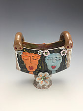Meditation Time Vase with Four Girls by Lilia Venier (Ceramic Vase)