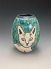 Dos Gatos Raku Vase by Lilia Venier (Ceramic Vessel)