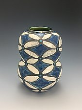 Blue Fantasy Raku Vase by Lilia Venier (Ceramic Vessel)