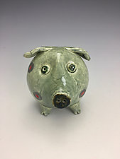 Green Pig Raku Sculpture by Lilia Venier (Ceramic Sculpture)