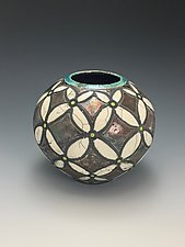 Flowers Raku Vase by Lilia Venier (Ceramic Vessel)