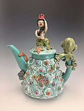 Mermaid Queen of the Sea Teapot by Lilia Venier (Ceramic Teapot)
