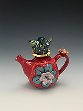 Birdie - A Bird and Flower Teapot by Lilia Venier (Ceramic Teapot)