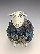 Molly  - Blue Sheep with White Head Raku Sculpture by Lilia Venier (Ceramic Sculpture)
