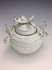 Snow Butterflies Jar 2 by Lilia Venier (Ceramic Jar)