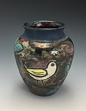 Birdies Raku Vase by Lilia Venier (Ceramic Vessel)
