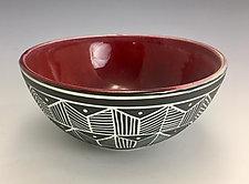 Red Sgraffito Bowl by Lilia Venier (Ceramic Bowl)
