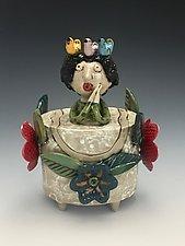 Pajaritos en la Cabeza  II by Lilia Venier (Ceramic Jar)