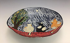 Moonlight Serenade Bowl with Cats and Moon by Lilia Venier (Ceramic Platter)