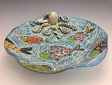 Fish Party Platter with Fish and Octopus by Lilia Venier (Ceramic Platter)