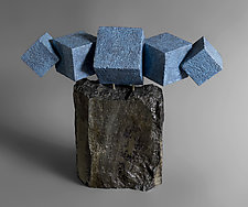 Geo Cubes in Blue by Jan Hoy (Ceramic Sculpture)