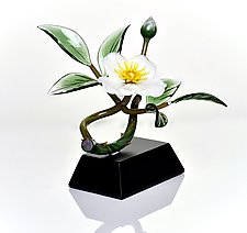 White Cherokee Rose and Bud by Hung Nguyen (Art Glass Sculpture)