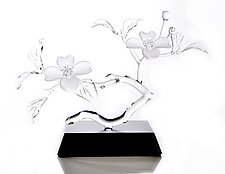 Dogwood Double Blossoms by Hung Nguyen (Art Glass Sculpture)
