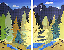Blue Lakes Diptych by Meredith Nemirov (Oil Painting)
