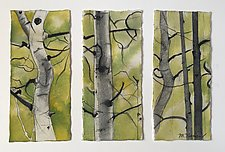 Aspen Triptych by Meredith Nemirov (Mixed-Media Drawing)
