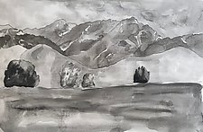 Moody Landscape by Meredith Nemirov (Mixed-Media Drawing)