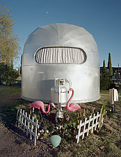 Airstream and Flamingos by William Lemke (Color Photograph)