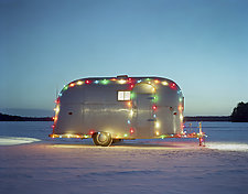 Airstream in the Snow by William Lemke (Color Photograph)