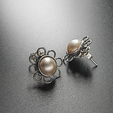 Pearl Flower Earrings by Randi Chervitz (Silver & Pearl Earrings)