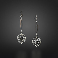 Oriental Globe with Pearl Earrings by Randi Chervitz (Silver & Pearl Earrings)